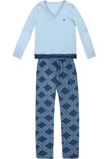 Pijama Feminino Em Malha De Algodão E Detalhe De Renda