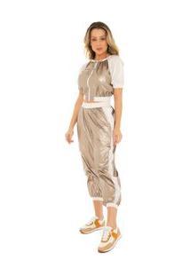Calça Zinco Comfort Cós Alto Composê Tecido Dourado