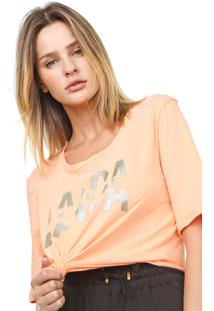 Camiseta Lança Perfume Lettering Coral