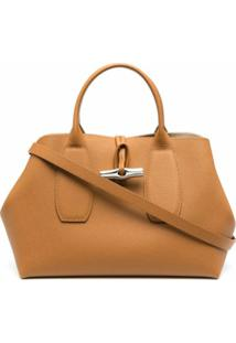 Longchamp Bolsa De Mão Roseau Média - Marrom
