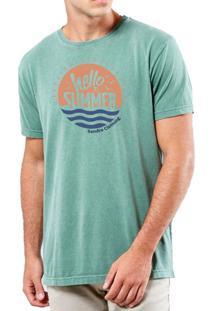 Camiseta Sandro Clothing Hello Summer Verde Água Estonada