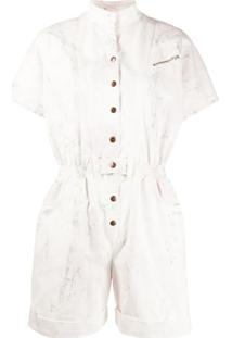 Redemption Short Sleeve Stand Up Collar Playsuit - Branco
