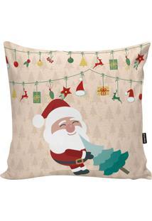 Capa Para Almofada Em Microfibra Papai Noel- Off White &Stm Home