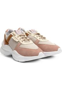 Tênis Chunky Dumond Sneaker Recortes Feminino - Feminino-Bege+Rosa