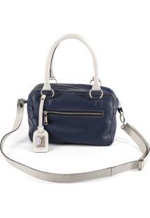 Bolsa De Couro Alice Azul.