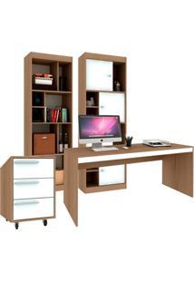 Conjunto De Escritório Home Office Avelã E Branco