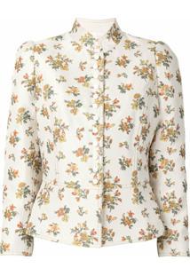 Tory Burch Jaqueta De Jacquard Com Estampa Floral - Neutro