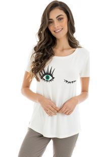 T-Shirt La Mandinne Bordado Aplicação Olhos Off White