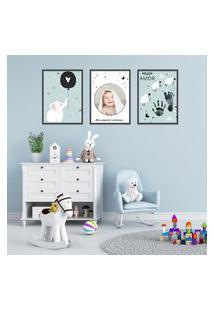 Quadro 40X90Cm Infantil Lembrança Bebê Menino Moldura Preta Com Vidro Decorativo