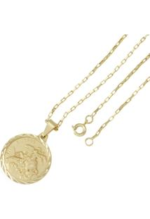 Pingente São Jorge Com Corrente Tudo Jóias Modelo Francesa Dourada