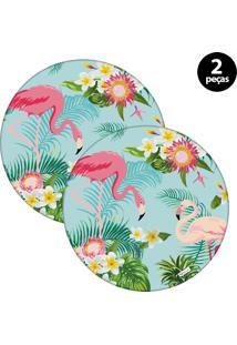 Sousplat Mdecore Flamingo 32X32Cm Azul 2Pçs