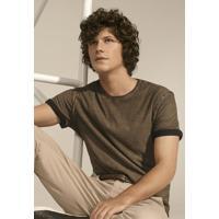 Camiseta Masculina Slim Em Malha De Algodão Com Técnica De Lavanderia  Diferenciada f40a494cceb12