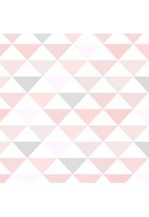 Papel De Parede Adesivo Stickdecor Geométrico Triângulos Rosa E Cinza