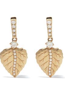Kiki Mcdonough Par De Brincos Lauren De Ouro 18K Com Diamante - Yellow Gold