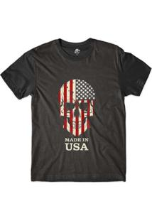 Camiseta Bsc Caveira País Usa Estados Unidos Sublimada - Masculino-Preto