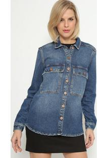 Jaqueta Jeans Com Bolsos - Azulcalvin Klein