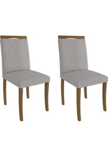Conjunto Com 2 Cadeiras De Jantar Laura Linho Madeira E Aspen