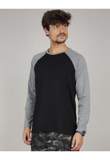 Camiseta Masculina Básica Manga Longa Raglan Gola Careca Preta