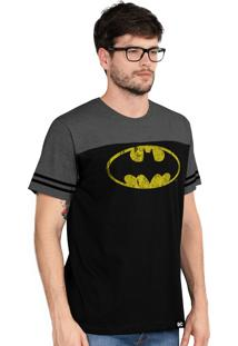 Camiseta Bandup! Bicolor Athletic Dc Comics Batman Logo Preto E Chumbo