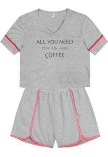 Pijama Manga Curta Estampado Hering Feminino - Feminino-Cinza