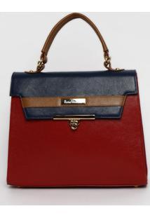 Bolsa Em Couro Com Recortes - Vermelho & Azul Marinho