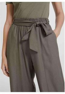 Calça Feminina Wide Leg Em Tecido De Viscose Verde