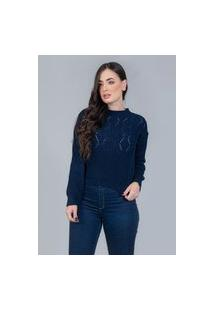 Blusa Charme Tricot Rendado Canelado Azul Azul Marinho