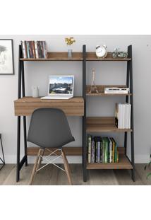 Conjunto Home Office Trend Bliv Completo Com Estante 4 Prateleiras E Mesa Com Gaveta - Castanho E Preto