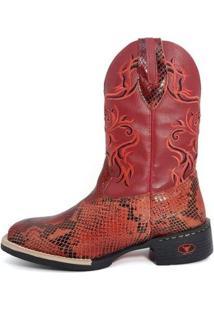 Bota Texana Couro Touro Botas Feminina - Feminino-Vermelho