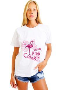 Camiseta Feminina Joss Love Pink Branco