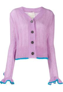 Marco De Vincenzo Ruffle Sleeve Button Cardigan - Roxo