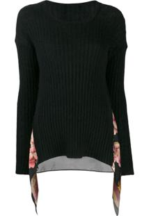 Twin-Set Printed Insert Jumper - Preto
