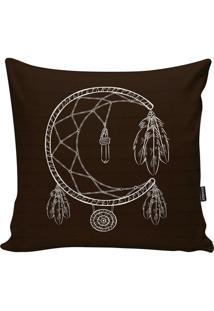 Capa Para Almofada Indians- Marrom Escuro & Branca- Stm Home