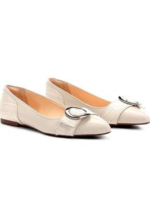 Sapatilha Couro Shoestock Croco Feminina - Feminino-Off White