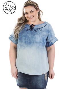Blusa Feminina Jeans Molly Com Manga Flare Plus Size