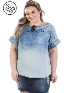 Blusa Plus Size - Confidencial Extra Jeans Molly Com Manga Flare Plus Size