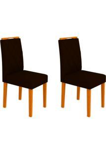 Conjunto Com 2 Cadeiras Isabela I Ipê E Preto