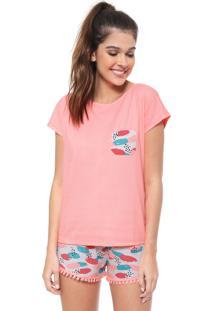 Pijama Malwee Liberta Neon Estampado Rosa