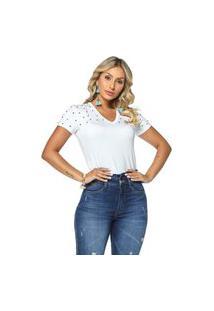 T-Shirt Daniela Cristina Gola V 01 602Dc10284 Branco