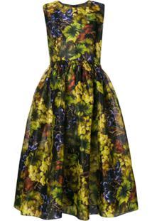 Dolce & Gabbana Vestido De Seda Estampado - Preto
