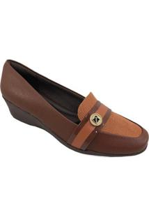 Sapato Anabela Piccadilly Conforto Logo - Feminino - Feminino-Marrom