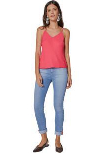 Calça Jeans Skinny Barra Dobrada Neon