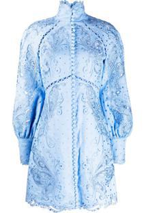 Zimmermann Vestido Com Estampa Floral - Azul
