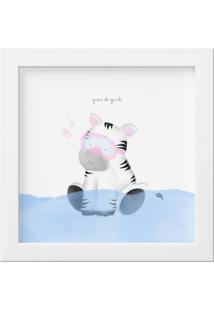 Quadro Amiguinha Zebra No Banho 18Cm Grão De Gente Cinza