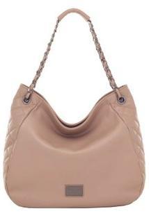Bolsa Smart Bag Couro Tiracolo Matelassê Taupe - Feminino-Marrom