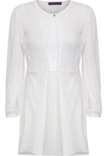 Vestido Curto Frente Tule - Off White