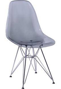 Cadeira Eames Base Cromada Fumê