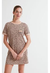 Camisola Manga Curta Estampa Animal Print Com Bordado