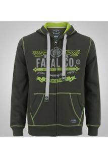 Jaqueta De Moletom Com Capuz Fatal 8904 - Masculina - Verde Escuro