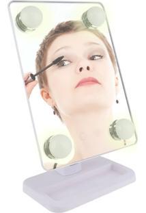 Espelho Para Maquiagem Vivitar Vanity Mirror Com Iluminação Por Led E Rotação 360° - Branco